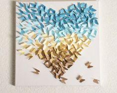 3d Ombré Butterfly heart Canvas