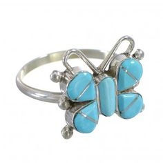 Zuni Indian Silver Turquoise Butterfly Ring Size 7-1/2 YX73450-0