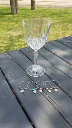Set of 6 markers for wine glasses with different fine stones. Each has an elephant charm. Champagne, Elephant, Yoga, Stone, Tableware, Markers, Wine Glass, Stones, Handmade