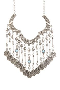 Chain Necklace with Turquoise Accented Fringe Bib by Chanour Jewelry on @HauteLook