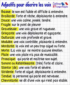 décrire les voix French Language Lessons, French Language Learning, Writing A Book, Writing Tips, Education In Germany, Education Galaxy, Self Contained Classroom, French Education, French Expressions