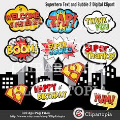 Superhero Text and Bubbles 2 clipart - comic book Personal and Commercial Use / INSTANT DOWNLOAD
