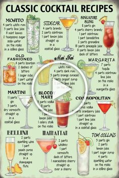 Details about Metal Sign Plaque Fun Classic Cocktail Recipes Drink Kitchen Bar – winter drinks Bloğ Cocktail Drinks, Cocktail Recipes, Alcoholic Drinks, Mix Drinks, Margarita Recipes, Hot Toddy, Keto, Cocktail Videos, Cherry Brandy