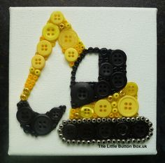 10x10cm Yellow and Black Digger Button picture
