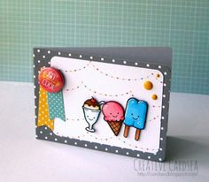 Lawn Fawn - Here's the Scoop, Hello Sunshine 6x6 paper, Let's Polka 6x6 paper, Let's Polka Flair _ Summery fun card by Elle via| Flickr - Photo Sharing!