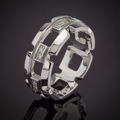 Men's Diamond Gold Tapered Link Ring made by Spexton.com