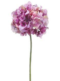 "Victorian Hydrangea Silk Stem in Purple and Pink - 18.5"" Tall x 7"" Diameter Bloom"