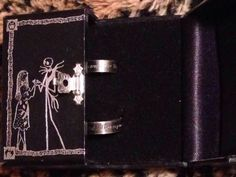 Nightmare Before Christmas Lover Ring Set Goth Punk Jack Sally