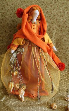 Купить Физалис.Девочка - осень. - рыжий, текстильная кукла, интерьерная кукла, тильда