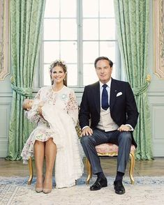 Princess Madeleine of Sweden and her husband Christopher O'Neill have posed alongside their youngest Princess Adrienne in celebration of her christening on Friday, June 8, 2018, in the royal residence of Drottningholm Slott, Stockholm.