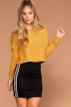 Teen Clothing Indy Mustard Stripe Mini Skirt Teen ClothingSource : Indy Mustard Stripe Mini Skirt by Outfits For Teens, Fall Outfits, Cute Outfits, Fashion Outfits, Womens Fashion, Crop Top Outfits, Western Outfits, Beautiful Outfits, Lounge Wear
