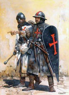 Caballero y sargento templarios en Tierra Santa a mediados del siglo XII