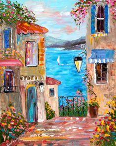 Karen Tarlton ~ Summer On Lake Como~ Original Oil Painting, Italy #OilPaintingItaly