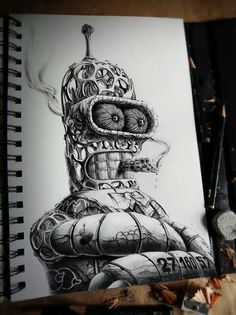 French graphic designer and illustrator PEZ has released part two of Distroy, an ongoing series of creepy graphite drawings portraying popular cartoon Illustrations, Illustration Art, Cartoon Drawings, Art Drawings, Really Cool Drawings, Digital Foto, Popular Cartoons, Graphite Drawings, Homer Simpson