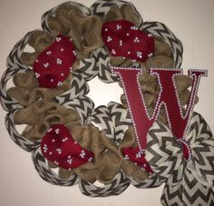 Burlap Chevron and Burgundy Wreath with initial!