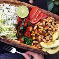 """jessicasodenkamp: """"I'm eating this RIGHT NOW. Cilantro-lime rice (rice + cilantro + lime juice + cumin), fajitas (red bell pepper, poblano pepper, diced onion, chili powder, lime juice), cannellini beans (beans, corn, cilantro, diced tomato, salsa,..."""