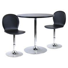 Winsome 3 Piece Dining Table Set With 2 Swivel Chairs