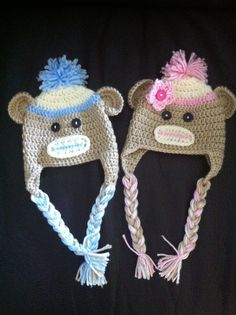 Crochet twin boy and girl sock monkey hats