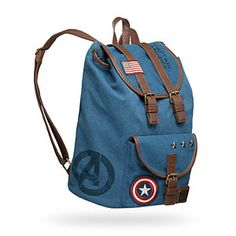 This Captain America Canvas Backpack is denim-colored with all sorts of great details. It looks like a rucksack you might get in the service, only upon closer inspection it celebrates Captain America and the Avengers. Marvel Backpack, Marvel Canvas, Disney Handbags, Marvel Universe, Marvel Clothes, Avengers Clothes, Fandom Fashion, Cute Bags, Geek Culture