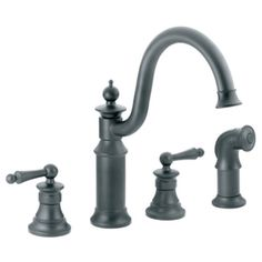 Moen Waterhill Double Handle Widespread Kitchen Faucet with Convenient Side Spray Finish: Wrought Iron