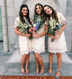 over the knee lace bridesmaids' dresses, messy bouquets and blue shoes