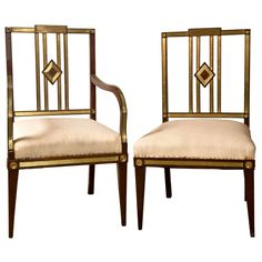 Set of Eleven 19th Century Russian Neoclassical Dining Chairs | From a unique collection of antique and modern dining room chairs at https://www.1stdibs.com/furniture/seating/dining-room-chairs/