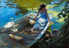 (Russia) Backwater of my heart by Vladimir Volegov ). oil on canvas. Artist Art, Artist At Work, Vladimir Volegov, Future Artist, Creation Photo, Travel Around Europe, Russian Art, Plein Air, Female Portrait