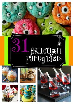 Looking for a little inspiration for your Halloween party this year? Check out 31 ideas for your party - food, decorations, games, costumes - it's all here! Fete Halloween, Halloween Goodies, Halloween Food For Party, Halloween 2014, Halloween Birthday, Spooky Halloween, Holidays Halloween, Halloween Treats, Happy Halloween