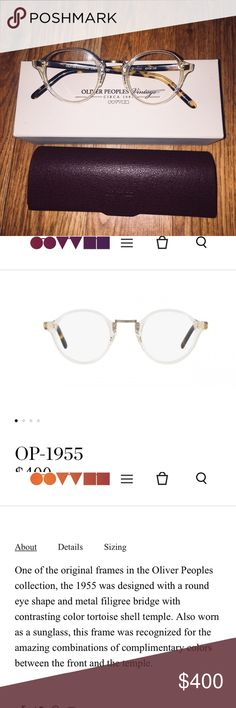 Vintage OLIVER PEOPLES OP-1955 BUFF NWT NWT- bought these and my optometrist said RX was too high to fit in them (have ultra high myopia)  and couldn't return to OP store.   PRICE FIRM  One of the original frames in the Oliver Peoples collection, the 1955 was designed with a round eye shape and metal filigree bridge with contrasting color tortoise shell temple. Also worn as a sunglass, this frame was recognized for the amazing combinations of complimentary colors between the front and the…