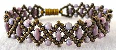 """Linda's Crafty Inspirations: Bracelet of the Day: Duo Bobble Band Variation - Purple Luster--DUO BOBBLE BAND VARIATION 11/0 seed beads Miyuki """"Metallic Olive Brown"""" (11-457H) SuperDuo beads """"Opaque Purple"""" 3mm druks """"Opaque Amethyst Luster""""--To get the neat points, I wove back around and skipped the center seed bead of each motif which made them pop up by pulling the thread snug.--Free pattern"""