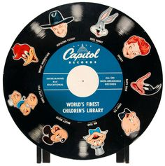 Capitol Records store display featuring Hopalong Cassidy, Bugs Bunny and others, c. Woody Woodpecker, Capitol Records, Bugs Bunny, Vinyl Records, Label, Display, Entertaining, History, My Love
