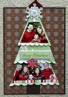 Ideas for Scrapbookers: Christmas Tree Templates . family photos cut to fit handmade Christmas card . Ideas for Scrapbookers: Christmas Tree Templates . family photos cut to fit in tiers of a tree . Christmas Scrapbook Layouts, Scrapbook Designs, Scrapbook Sketches, Scrapbook Page Layouts, Scrapbook Paper Crafts, Christmas Layout, Baby Scrapbook, Scrapbook Cards, Scrapbook Cover