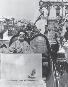 Guggenheim on a gondola on the Grand Canal in Venice in 1962.