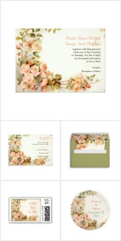 Vintage romantic painting of roses wedding invitations collection that features a bunch of rose flowers in pink, peach and coral with green leaves.