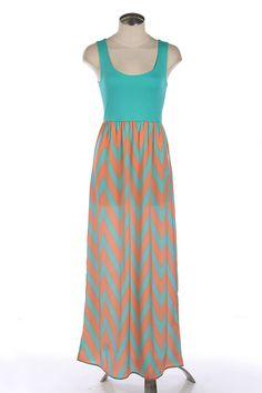 Scoop-back Chevron Maxi dress