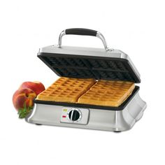 The 4 Slice Belgian Waffle Iron is singularly styled in brushed stainless steel, adding refinement to any kitchen counter. Six browning levels mean waffles will always be baked to perfection -- Belgian Waffle Iron, Belgian Waffles, Kitchen Items, Kitchen And Bath, Kitchen Things, Kitchen Stuff, Kitchen Gadgets, Kitchen Must Haves, Father's Day