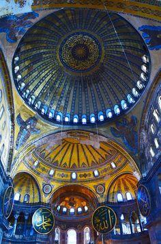 Byzantine architecture inside Hagia Sophia, Istanbul, Turkey.