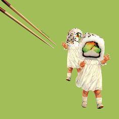sushi babies. #collage