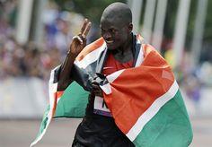 Uganda's Stephen Kiprotich celebrates winning gold in the Men's Marathon.  Day 16: Men's Marathon - Track & Field Slideshows   NBC Olympics##