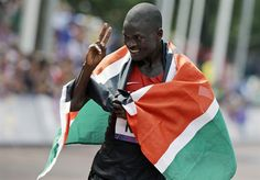 Uganda's Stephen Kiprotich celebrates winning gold in the Men's Marathon.  Day 16: Men's Marathon - Track & Field Slideshows | NBC Olympics##