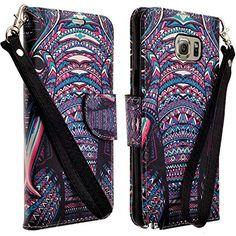 Samsung Galaxy Note 5 ATT Verizon TMobile Sprint US Cellular Wallet Case Pouch Premium Faux Leather Folio By Zase  Unique Design Colorful Tribal Elephant * Click image to review more details.