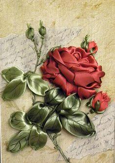 Вышивка лентами роза бутонная