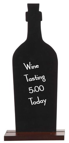 This black board wine bottle is the perfect accessory for any kitchen. Leave messages for each other or a reminder to yourself. Fits in with any wine themed decor. Stands securely on a wood base.