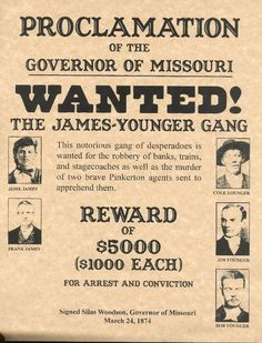 Old West Wanted Posters | James-Younger Gang Old West Wanted Poster