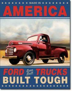 1948 Advertising Ford Trucks Built Tough Dealer Mechanic Garage Retro Tin Sign #1909
