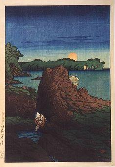hanga gallery . . . torii gallery: Ogi Harbor, Sado Island by Kawase Hasui