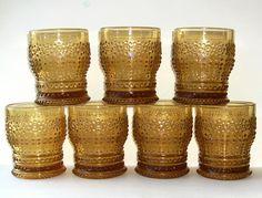 7 Large Sklo Union 'Praha' Whisky Tumblers By Adolf Matura For Rosice. Czech Glass, Tumblers, Glass Art, Candle Holders, Mugs, Tableware, Amber, Antique, Mug