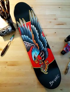Skate Deck hand painted by Simonetta Briganti