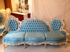 Vintage Baroque Sofa With Carved Wood Antique White Finish and Teal Blue Floral Brocade Upholstery  on Etsy, $2,100.00