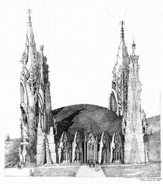 Imre Makovecz (Hungarian, Concept Art for The Holy Cathedral of Saints and Damned, Budapest, 2004 Unbuilt. Princess Castle, Budapest, Art And Architecture, Art Nouveau, Temple, Concept Art, Cathedral, Fantasy, World